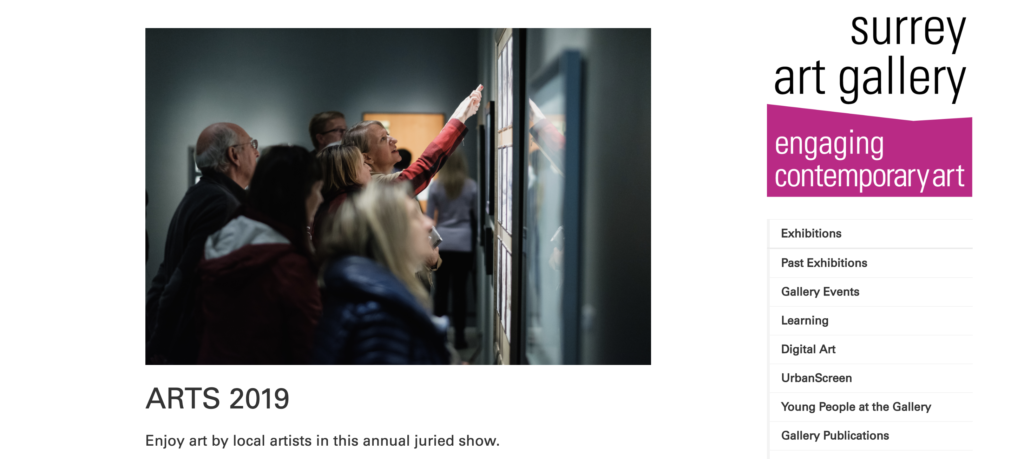 screenshot of Surrey art gallery Arts 2019 exhibition announcement