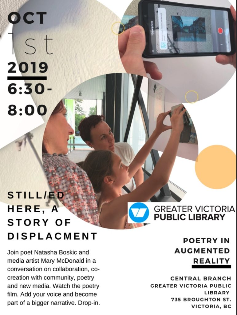 poster for Still/ed Here event at Central Branch, Greater Victoria Library, 6:30 - 8:00 pm